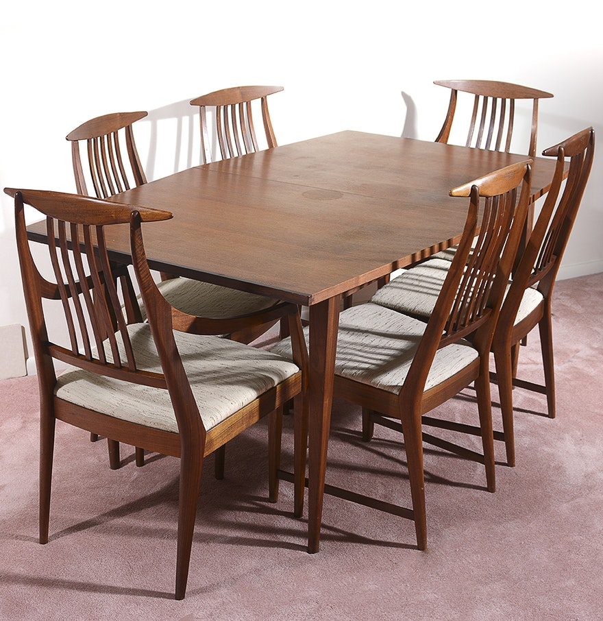 mid century modern teak dining table set ebth