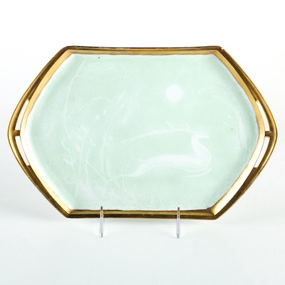 Czech Gold Plated Ceramic Tray