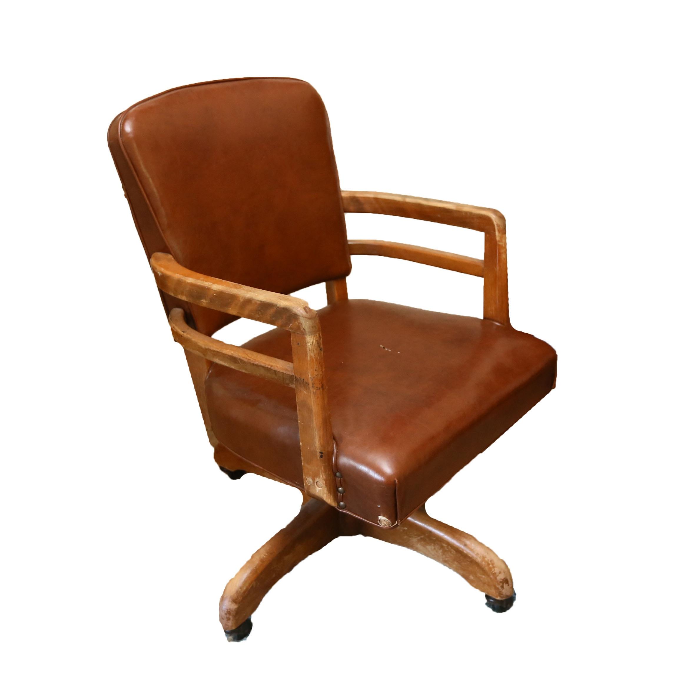 Wooden and Vinyl Desk Chair