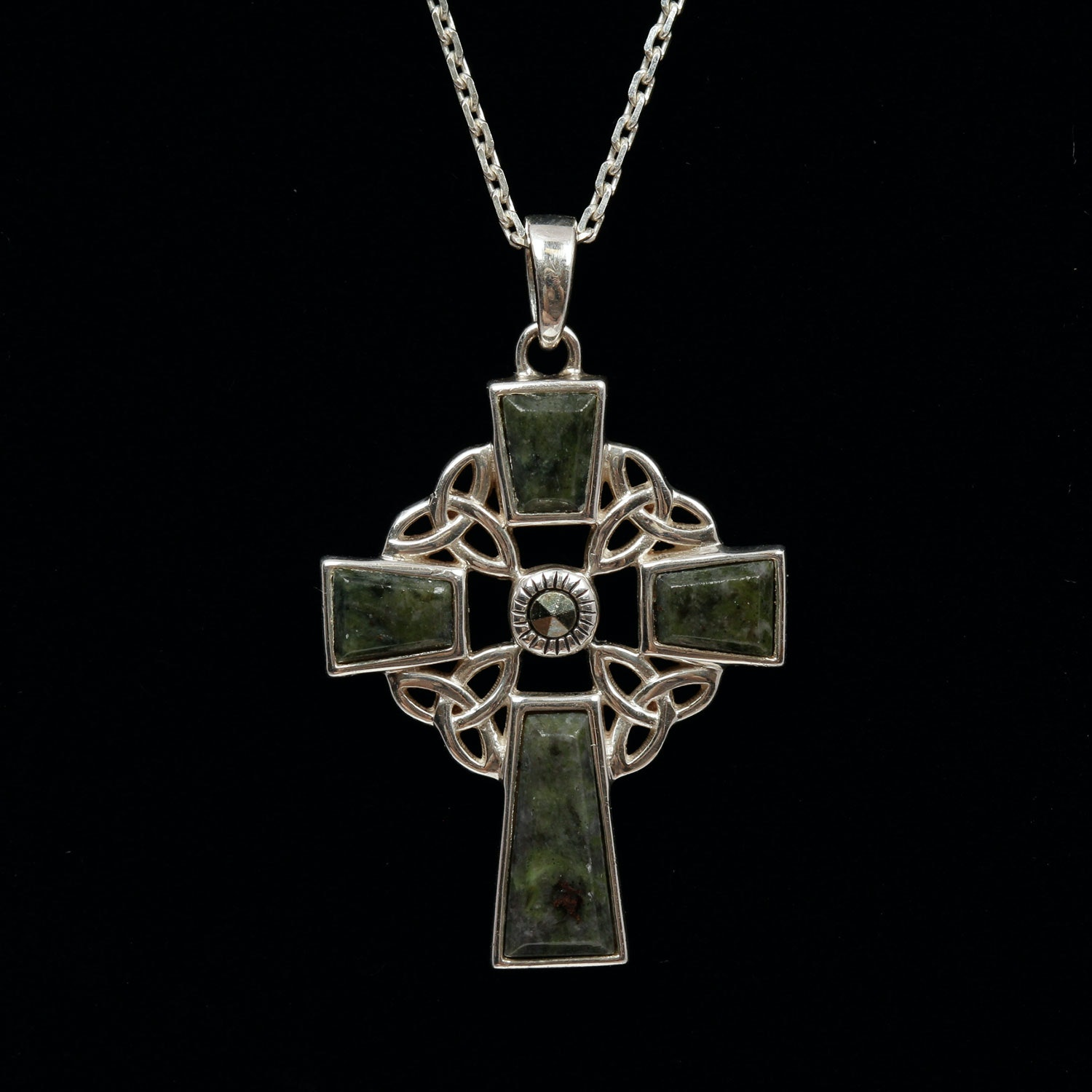 Sterling Silver Marble and Marcasite Cross Pendant Necklace