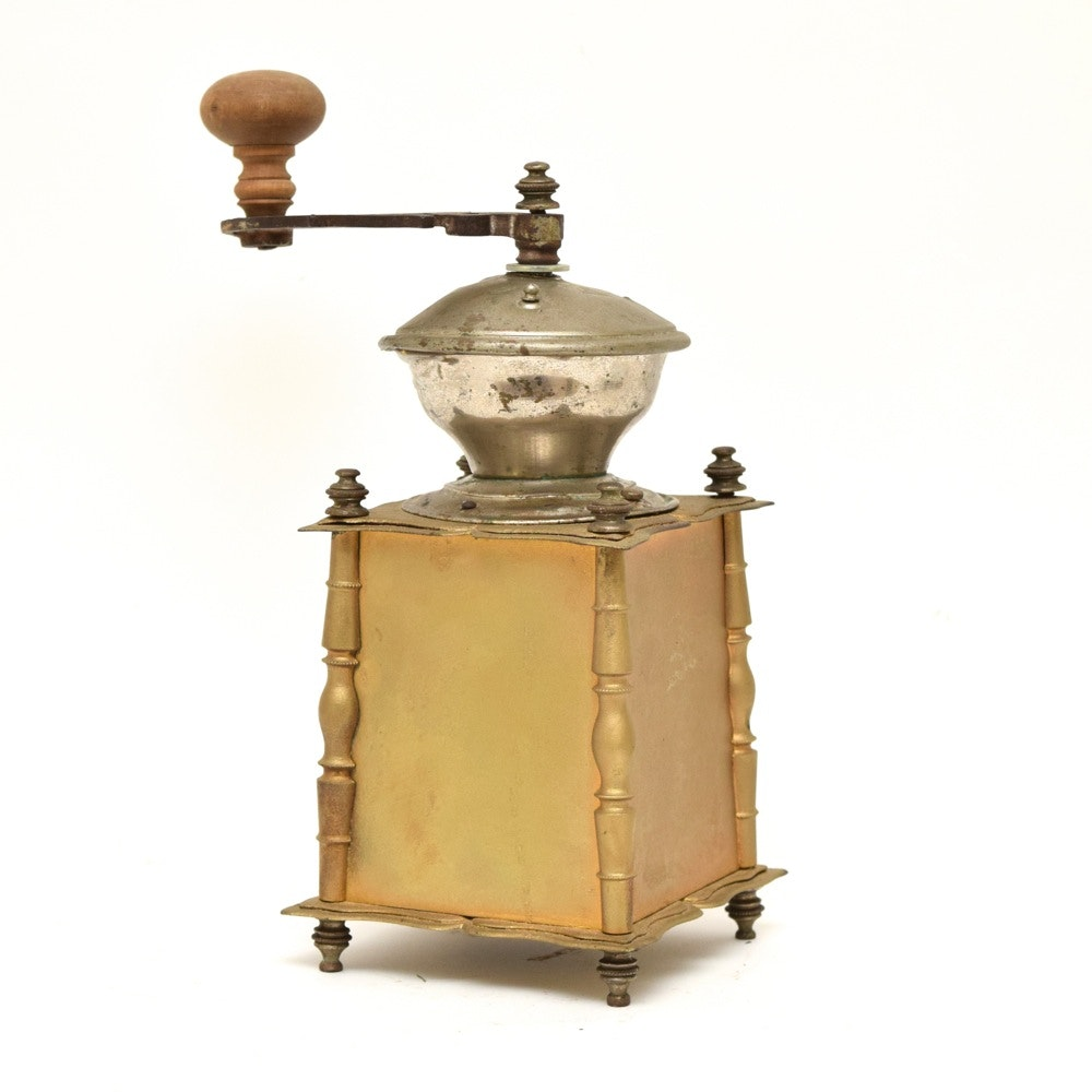Vintage Gold Tone Cast Iron, Tin and Brass Coffee Grinder