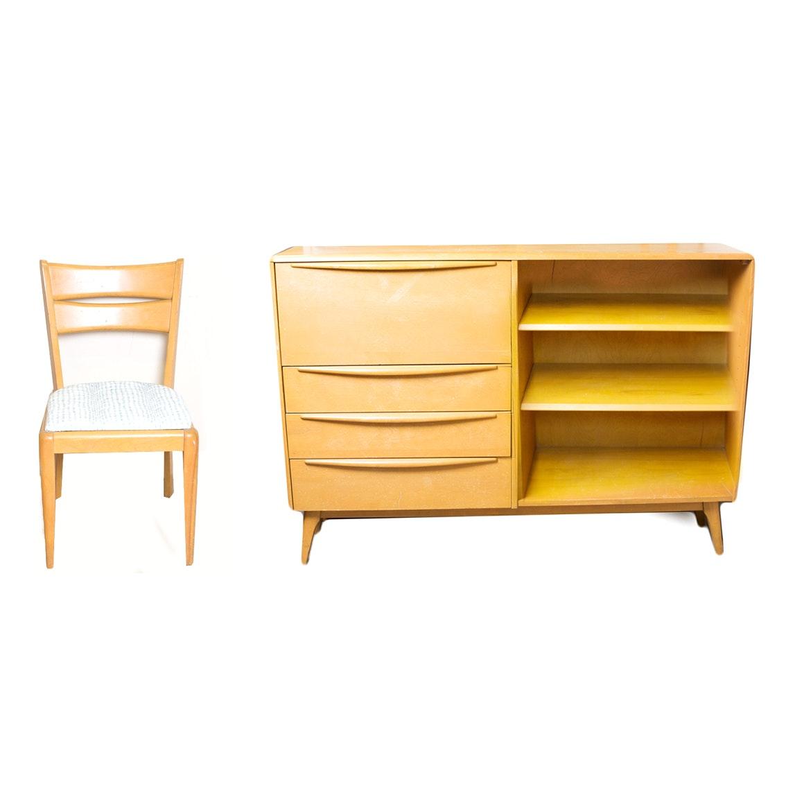 Heywood Wakefield Mid Century Desk, Shelf, Drawer Combo