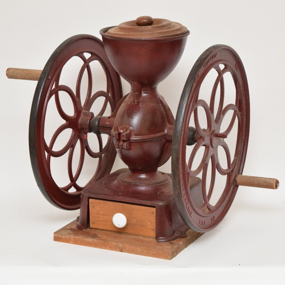 Antique Enterprise Red Painted Cast Iron Double Wheel Coffee Grinder
