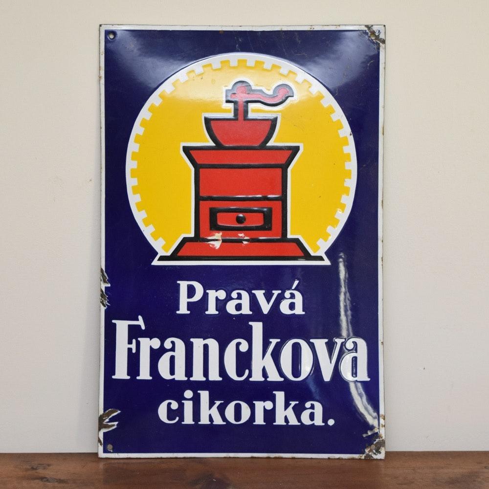 Vintage Painted Tin Coffee Grinder Advertisement