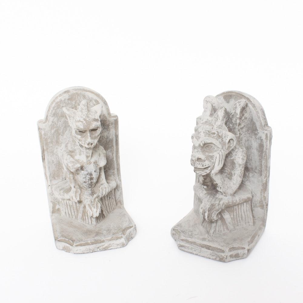 Carved Stone Gargoyle Bookends