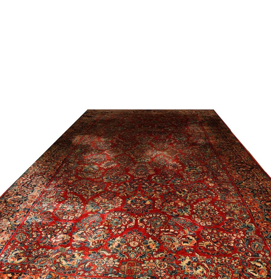 Antique handmade sarouk area rug ebth for Custom made area rugs