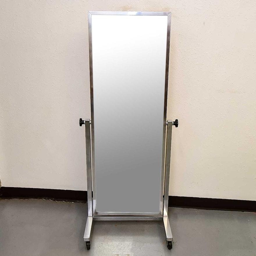 Chrome Metal Rolling Floor Mirror : EBTH