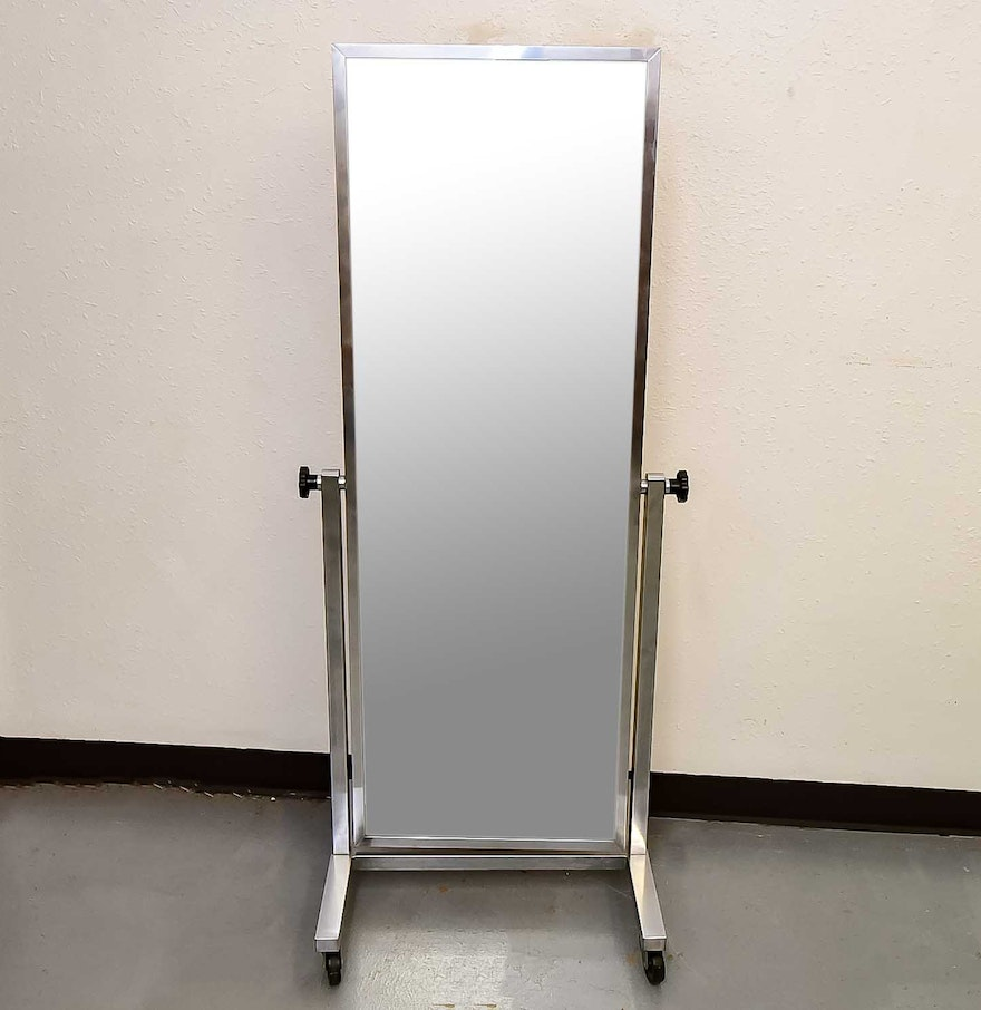 chrome metal rolling floor mirror  ebth - chrome metal rolling floor mirror