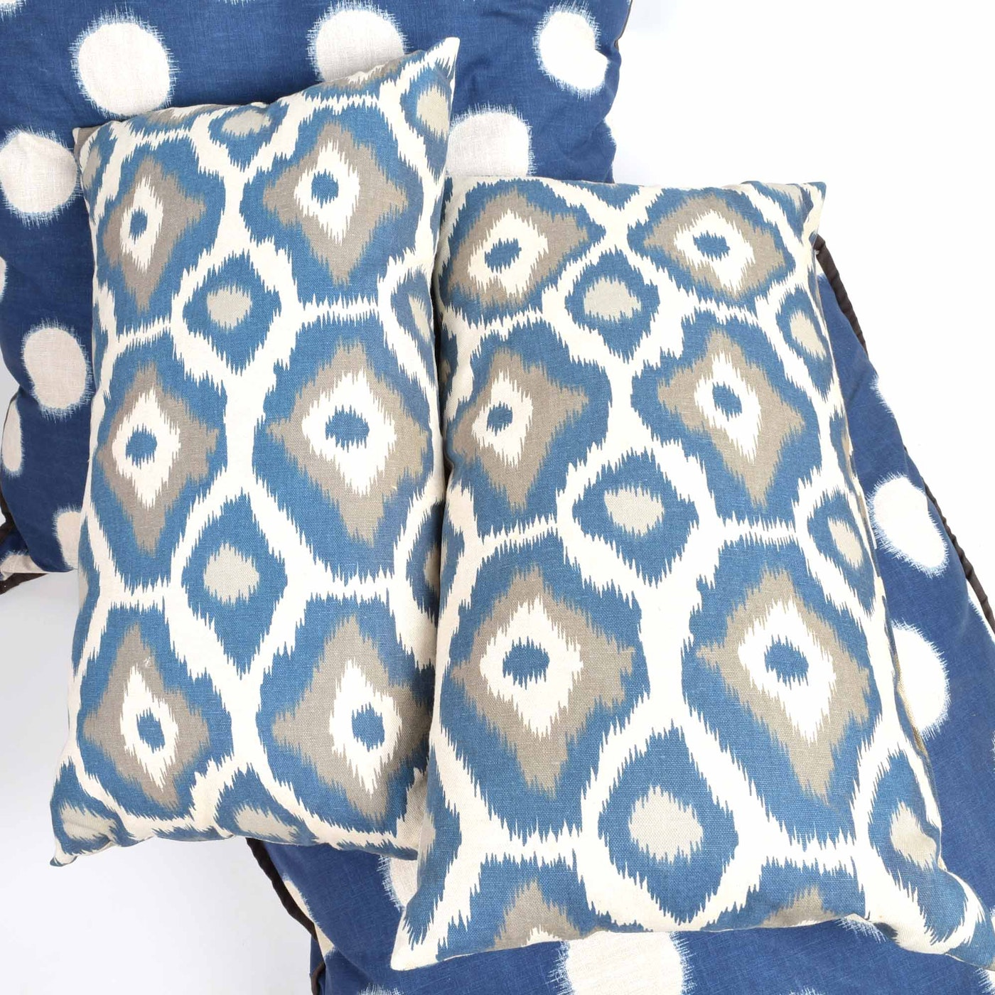Throw Pillows With Navy Blue : Set of Navy Blue Decorative Throw Pillows with Carved Wooden Elephant Wall Plaque : EBTH