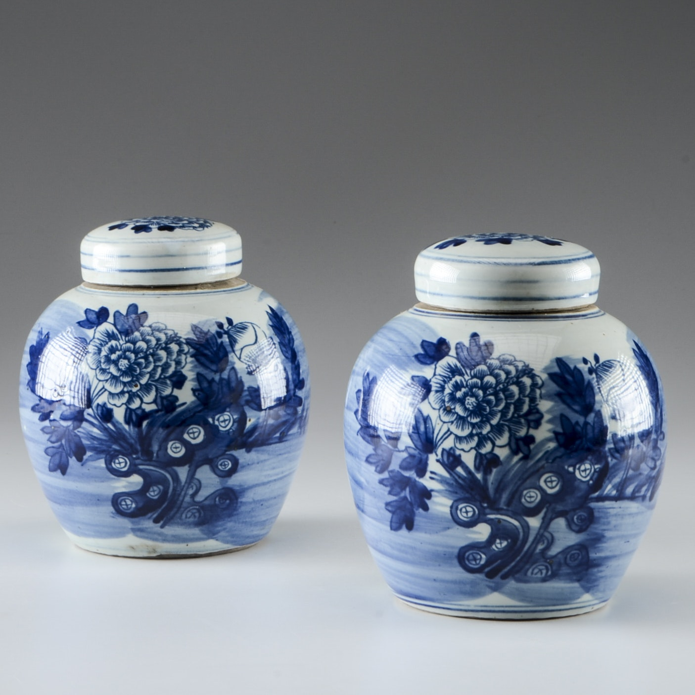 Pair of Hand Painted Chinese Blue Peony Ginger Jars
