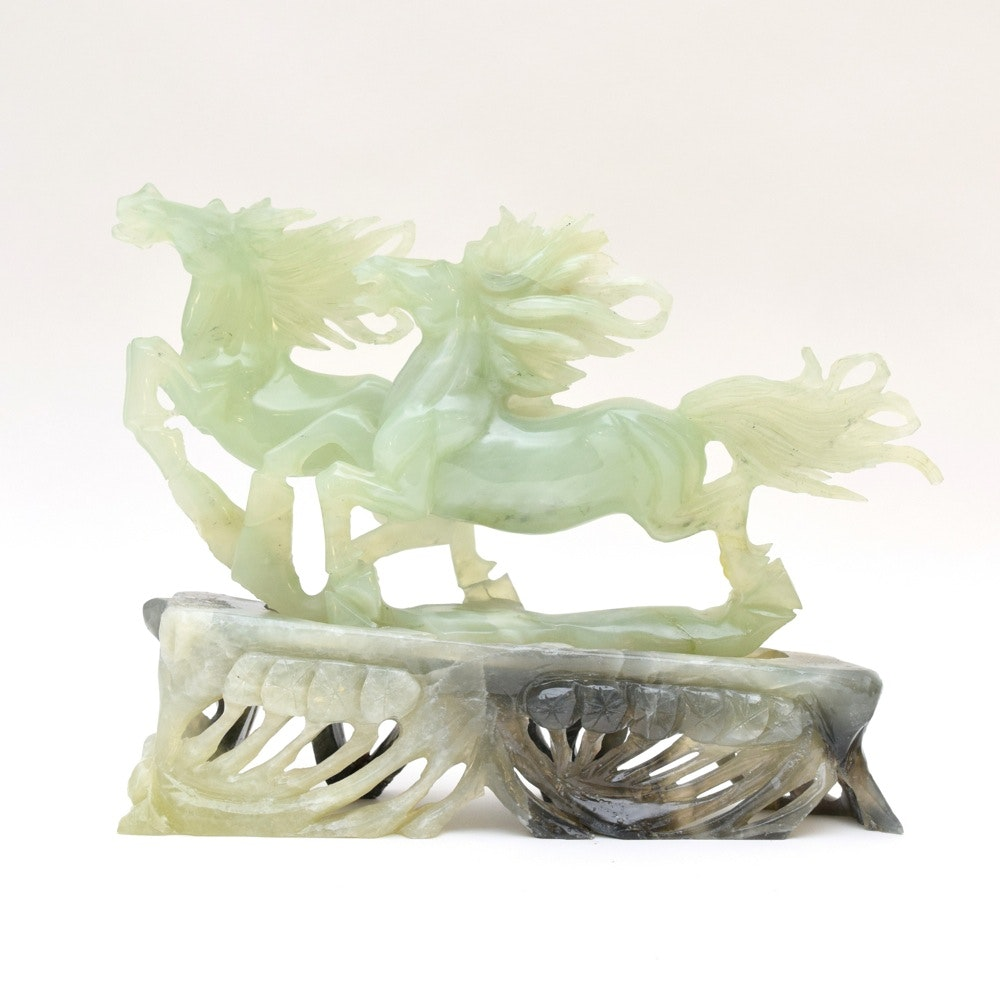 Moulded Glass Horse Sculpture and Base