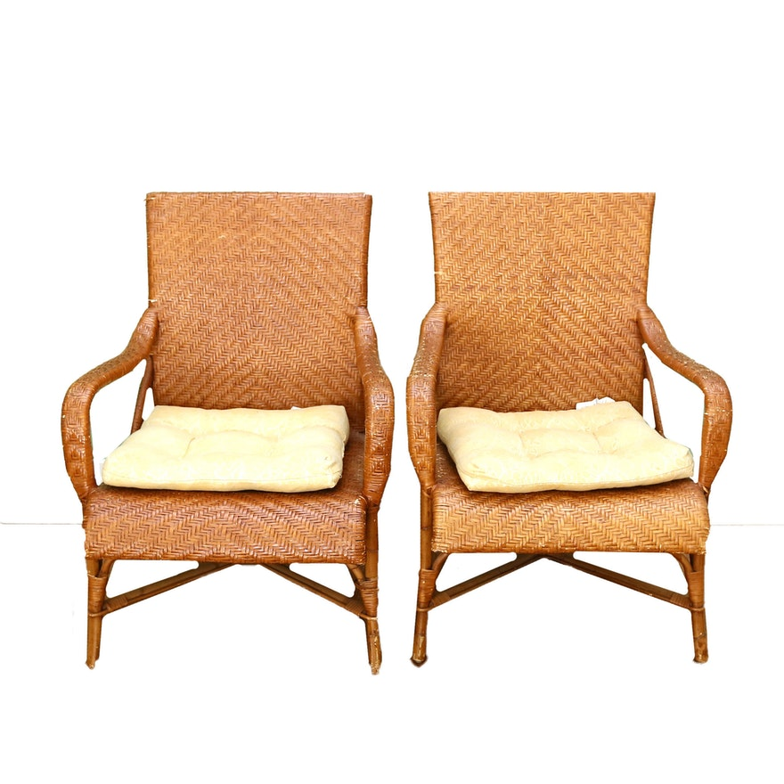 Pair Of Crate Barrel Rattan Chairs With Cushions Ebth