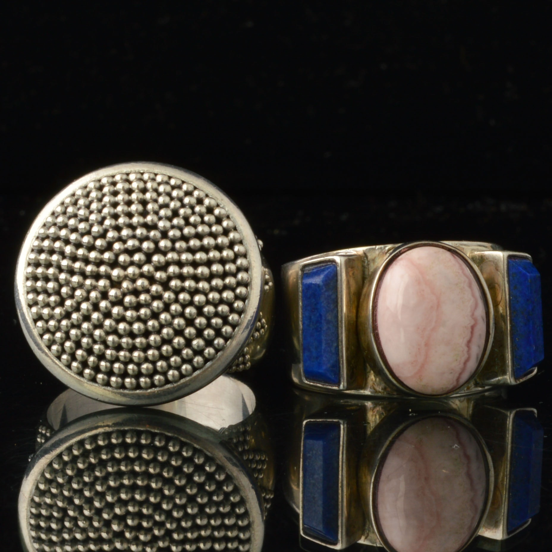 Sterling Silver Rings with Semiprecious Stone Accents