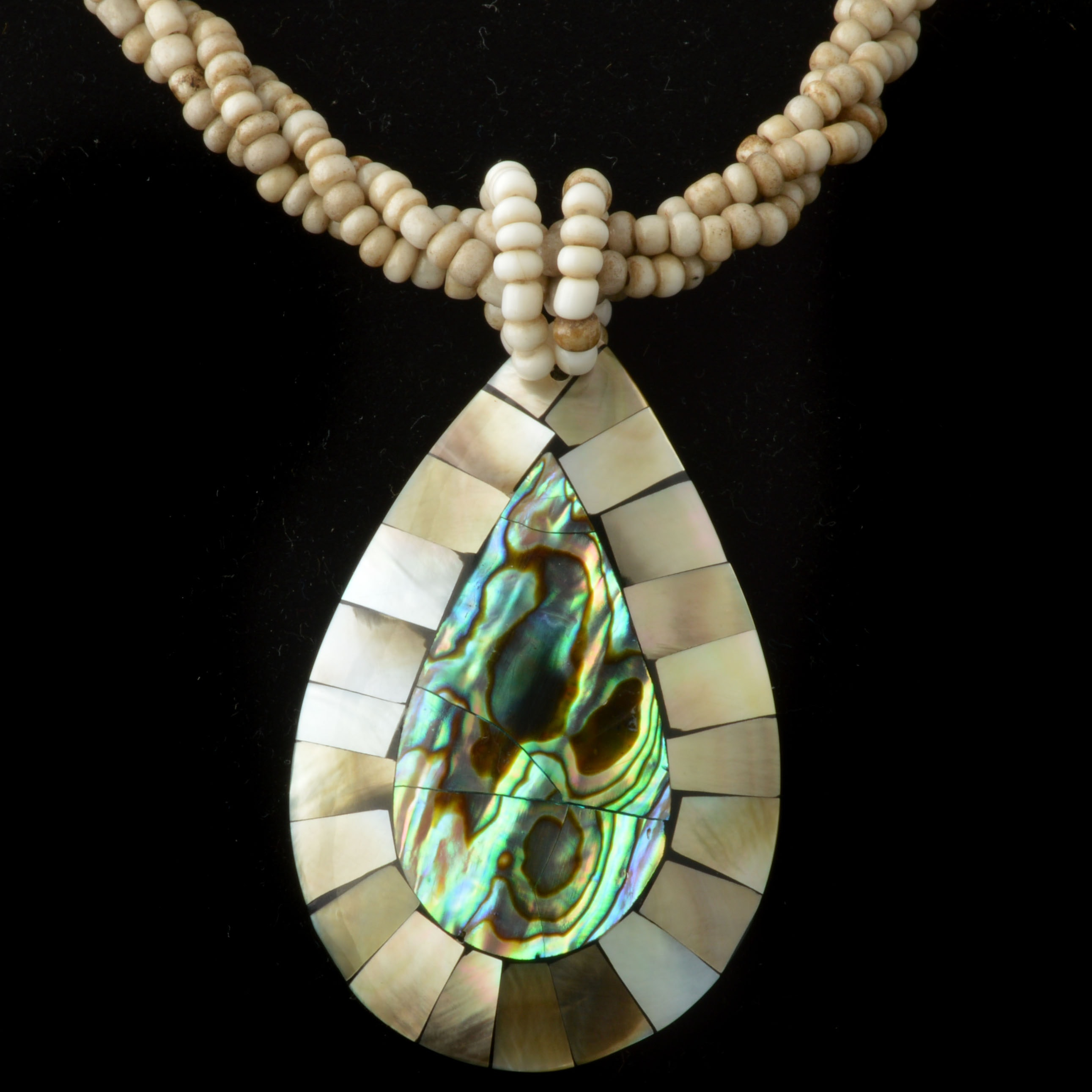 Abalone, Mother of Pearl, and Agate Beaded Necklace