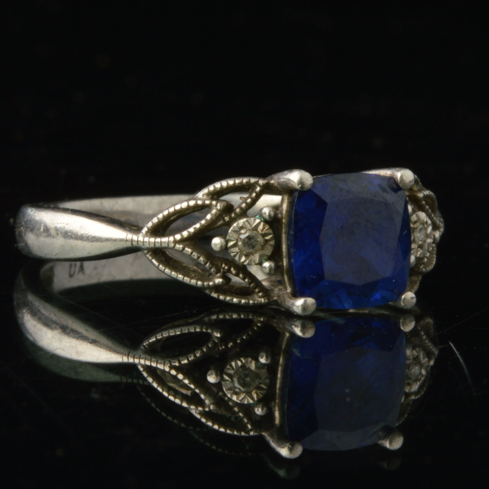 Sterling, Diamond and Synthetic Sapphire Ring