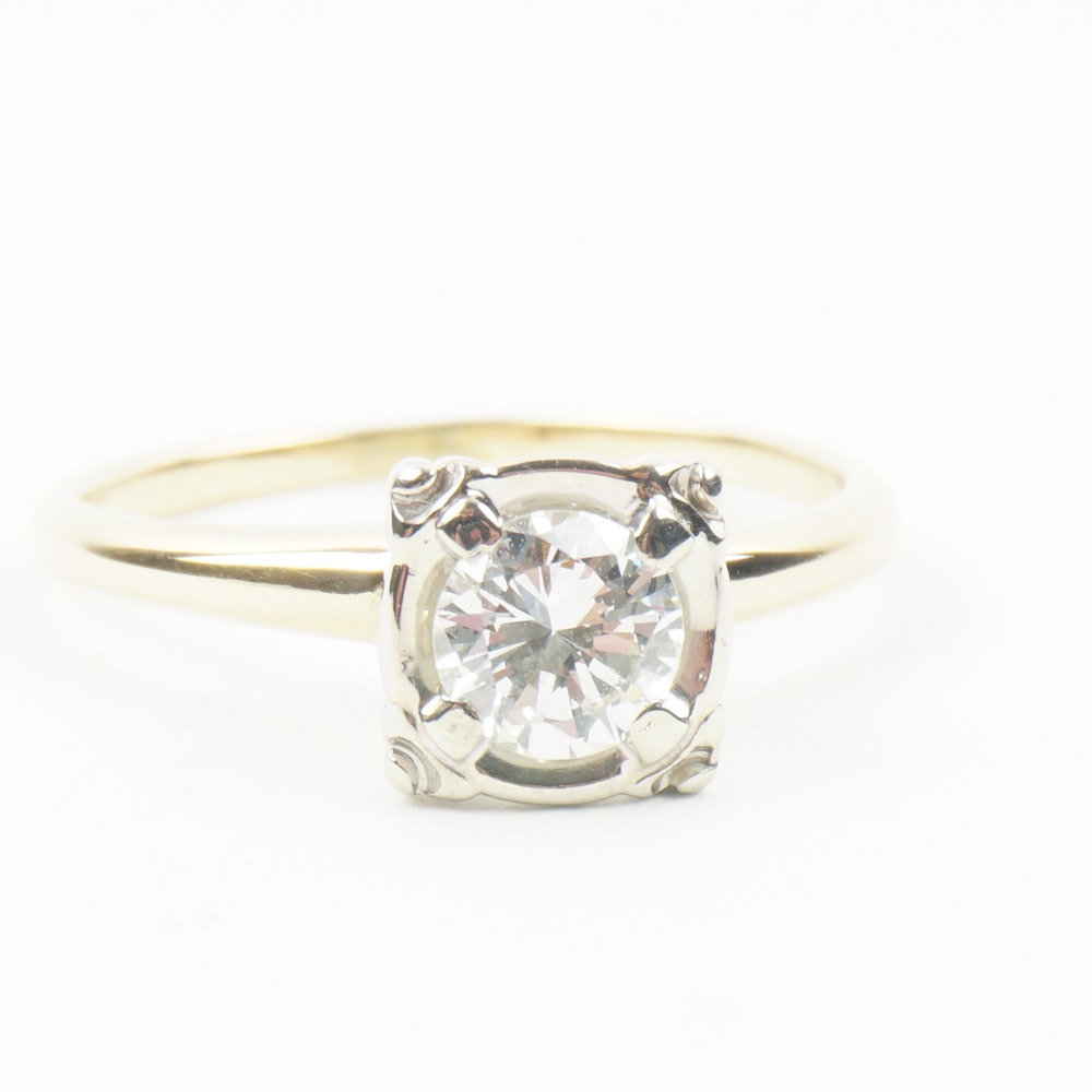 14 K Yellow Gold Solitaire Ring