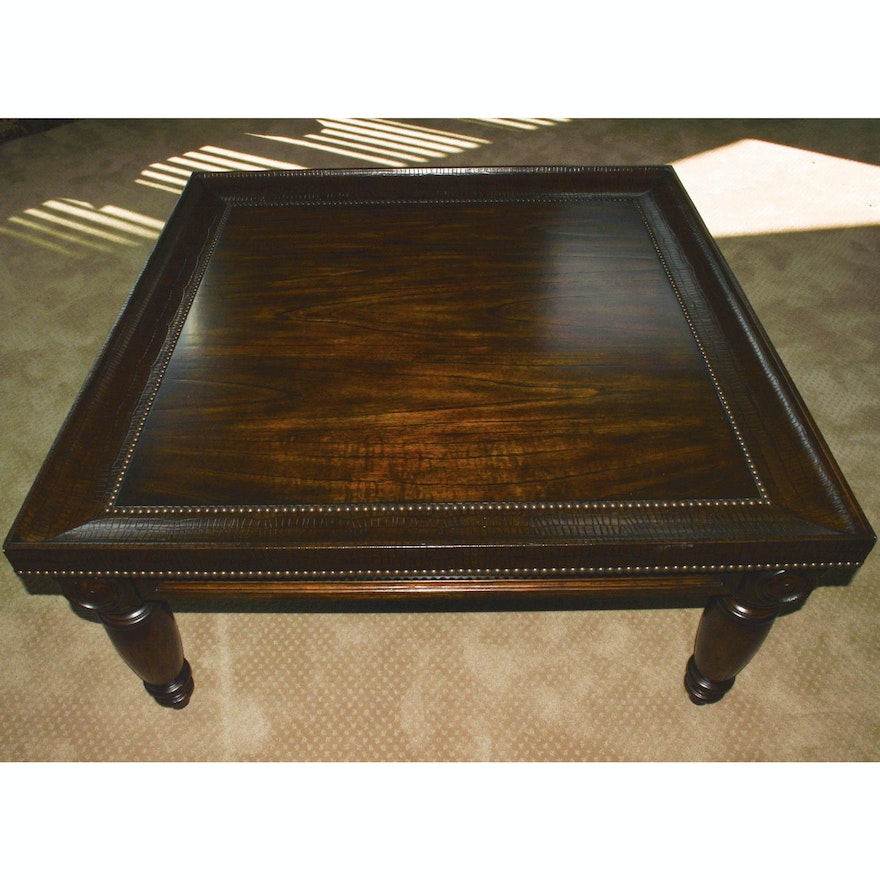 Nail Marble Top Coffee Table: Bernhardt Commonwealth Coffee Table With Embossed Leather
