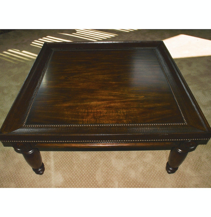 Bernhardt Commonwealth Coffee Table With Embossed Leather Trim Ebth