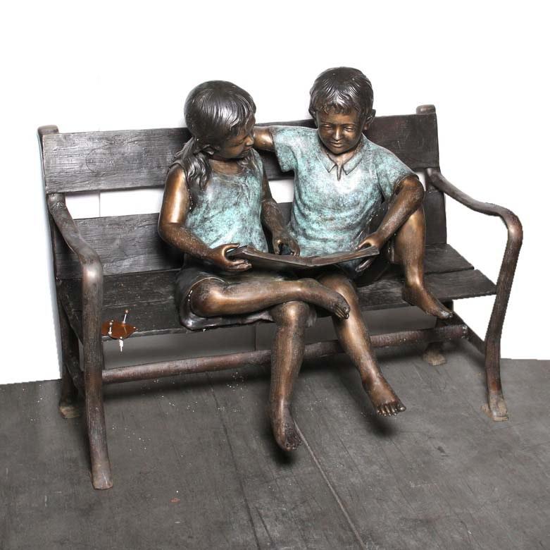 Bronze Statue of Children on Bench