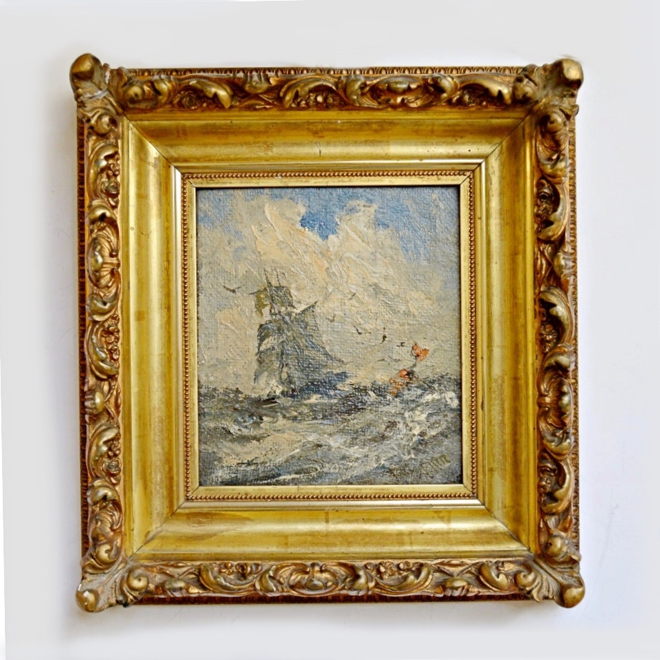19th-C Original Signed Seascape Oil on Canvas by Robert Hopkin
