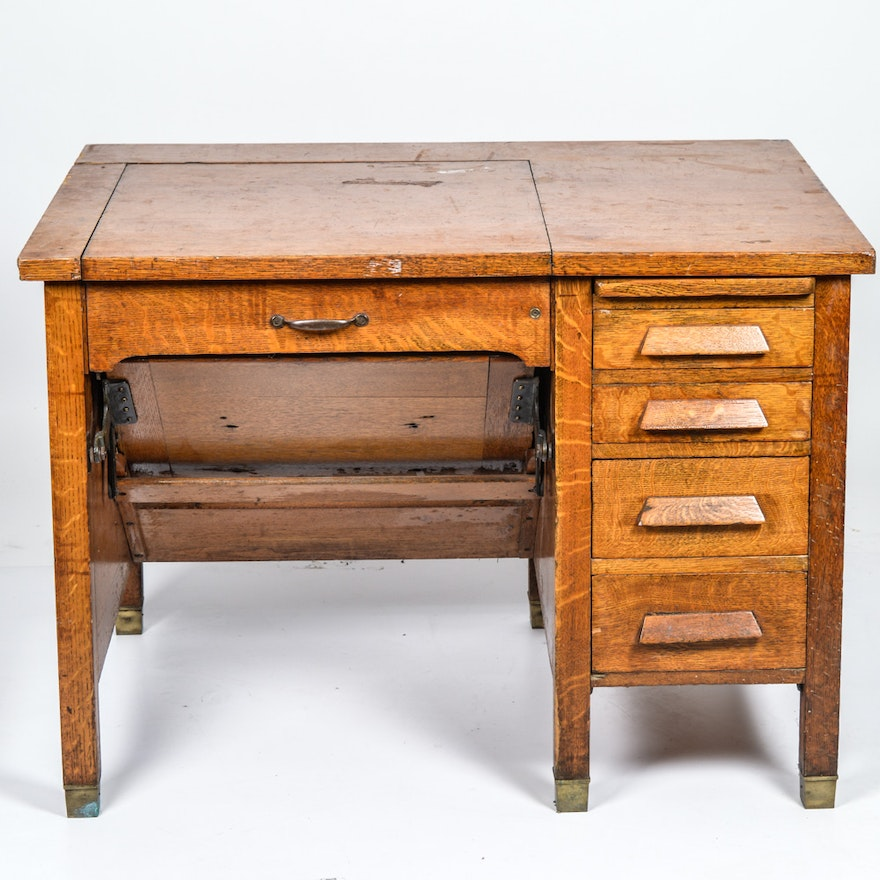 Vintage Quarter Sawn Oak Veneer Typewriter Desk - Vintage Desks, Antique Desks And Used Desks Auction In Jewelry