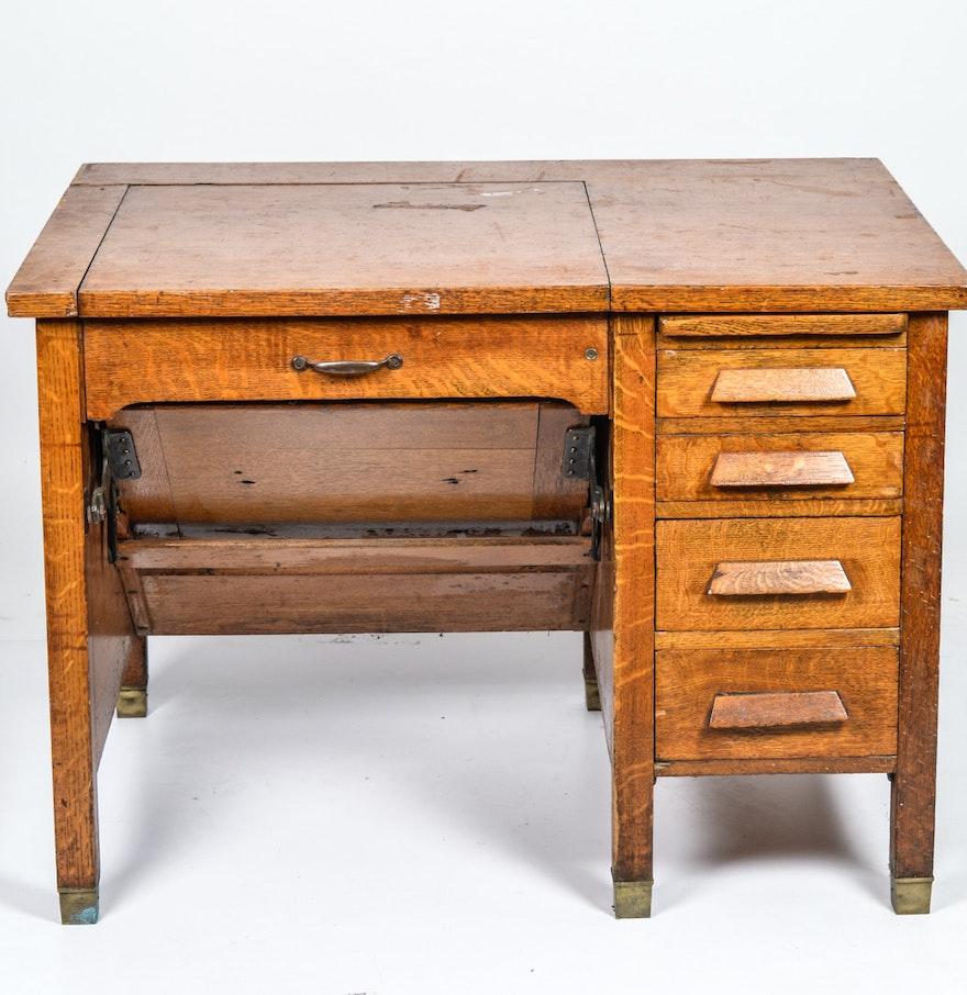 Vintage Quarter Sawn Oak Veneer Typewriter Desk ... - Vintage Quarter Sawn Oak Veneer Typewriter Desk : EBTH