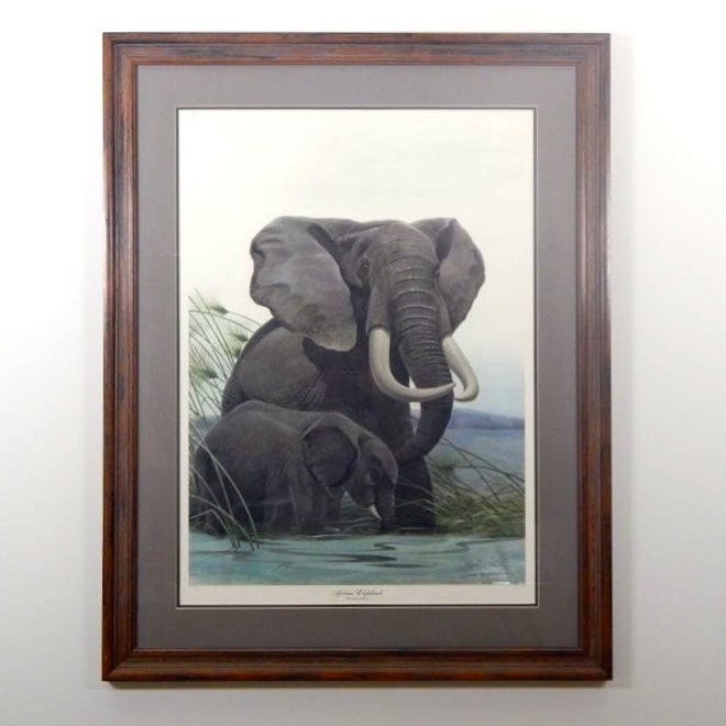 """Signed Lithograph """"African Elephants"""" By John Ruthven"""