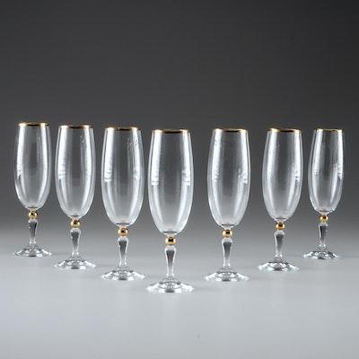 Set Of Seven Champagne Flutes