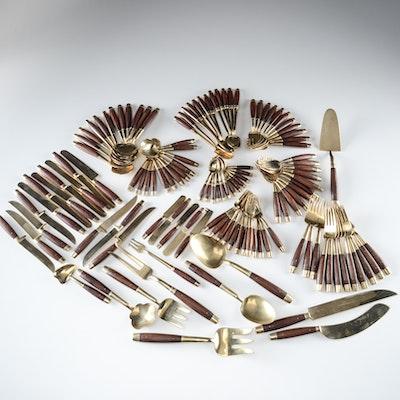 Vintage Walnut Wood Handled Brass Flatware