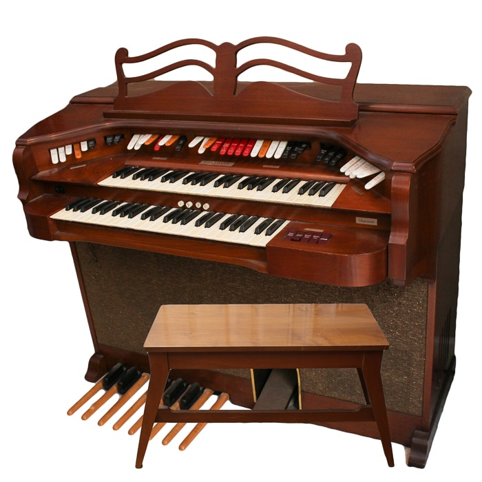 Vintage Baldwin Theater Organ, Bench and Sheet Music Collection