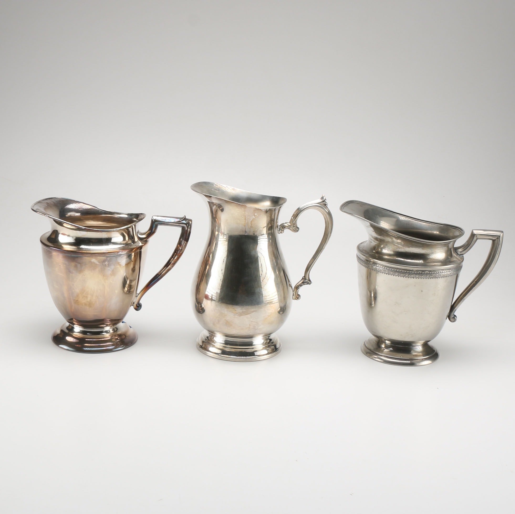 Silver Tone and Silver Plate Pitchers
