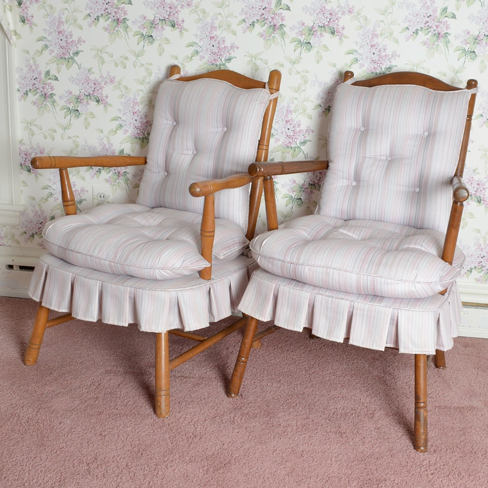 Pair of Stripe Upholstered Side Chairs