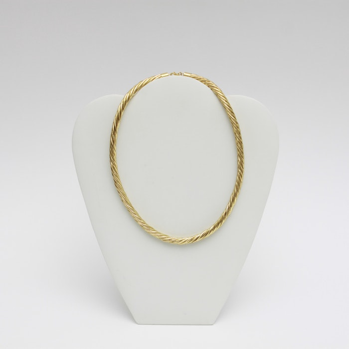 14K Yellow Gold Hollow Rope Necklace