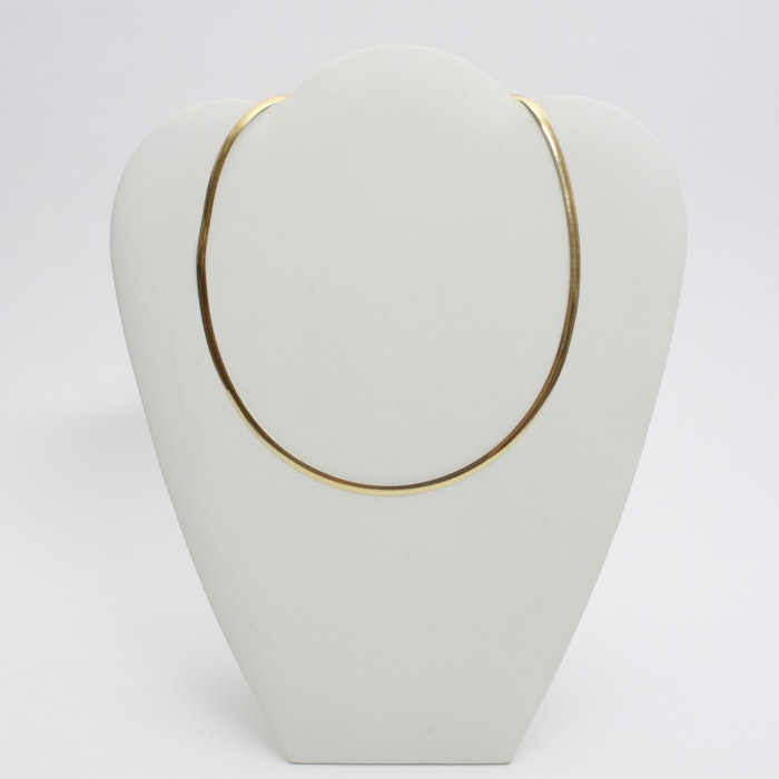 Italian 14K Yellow and White Gold Reversible Snake Chain Necklace