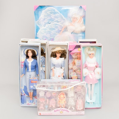 Collectible Barbie Dolls in Boxes including a 1999 Krissy Baby Layette and Little Debbie Dolls