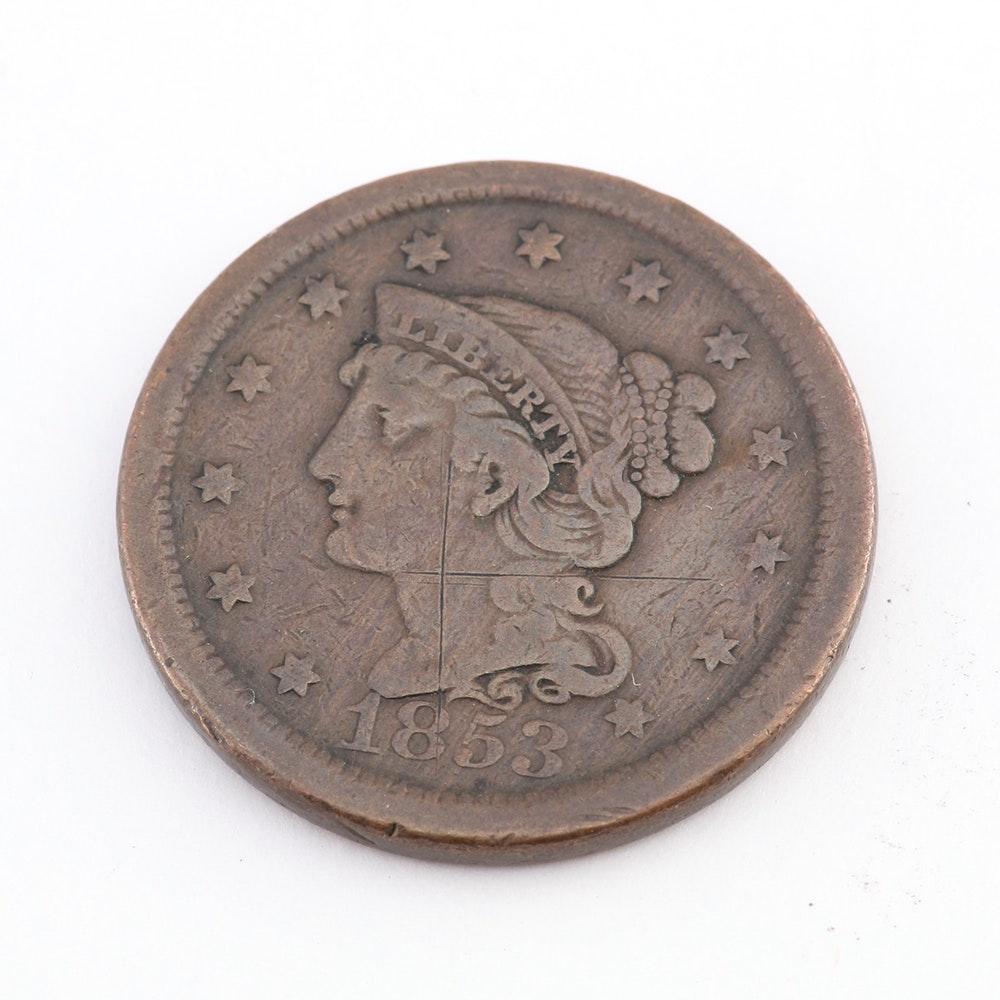 1853 Braided Hair Large Cent