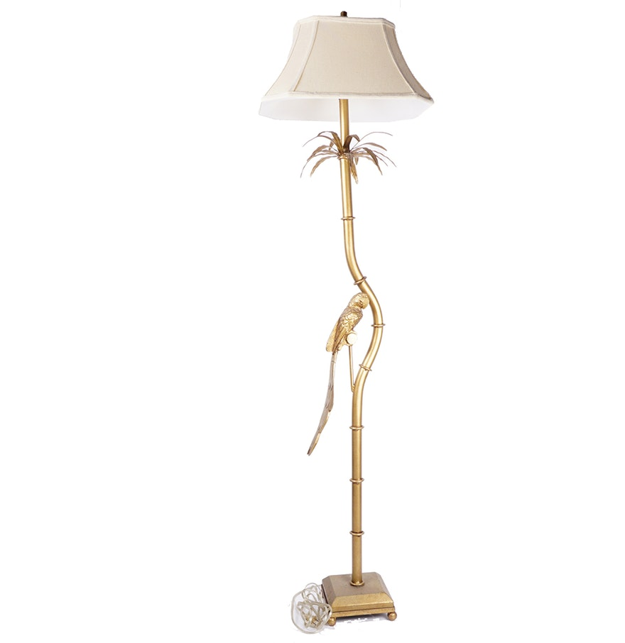 Island Themed Brass Tone Floor Lamp With Parrot : EBTH