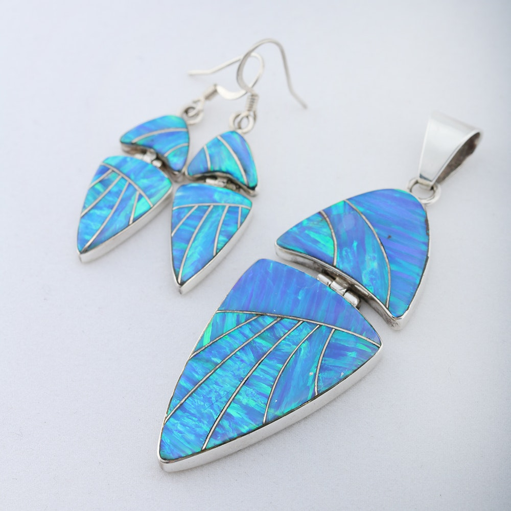 Synthetic Opal Earrings and Pendant Stamped Sterling