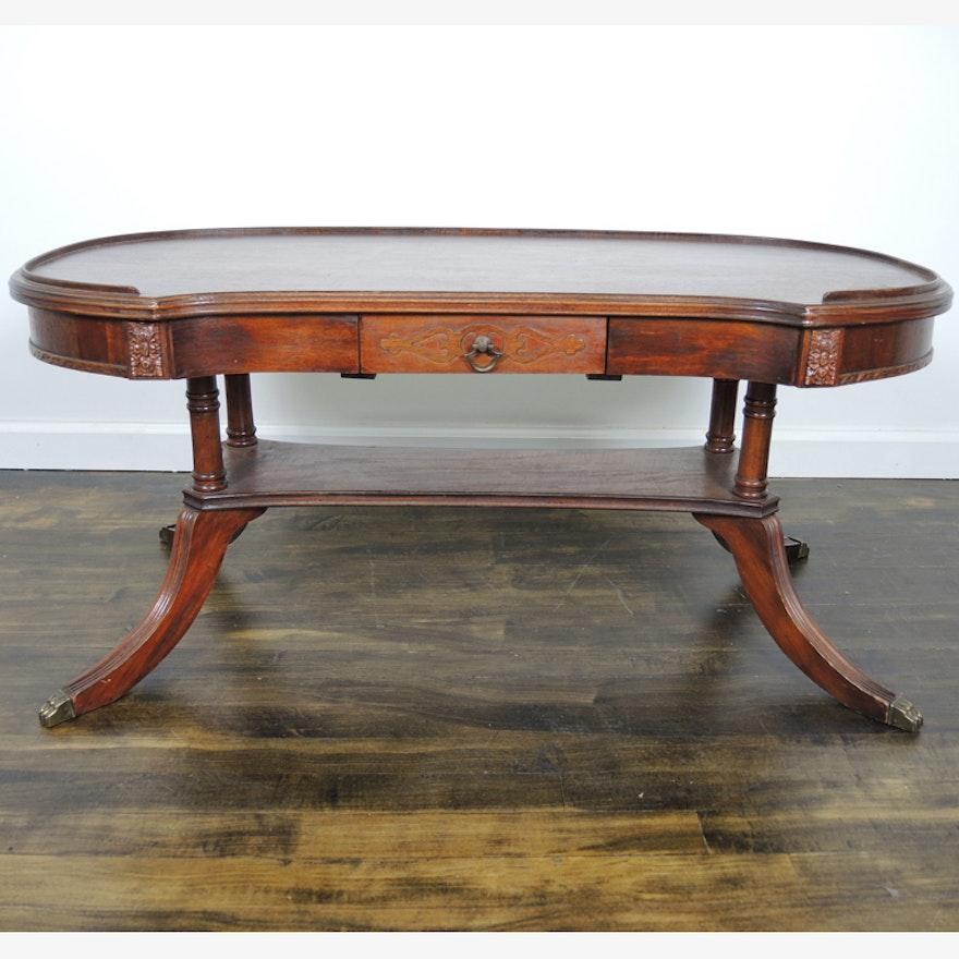 Mahogany Coffee Table: Duncan Phyfe Style Mahogany Coffee Table