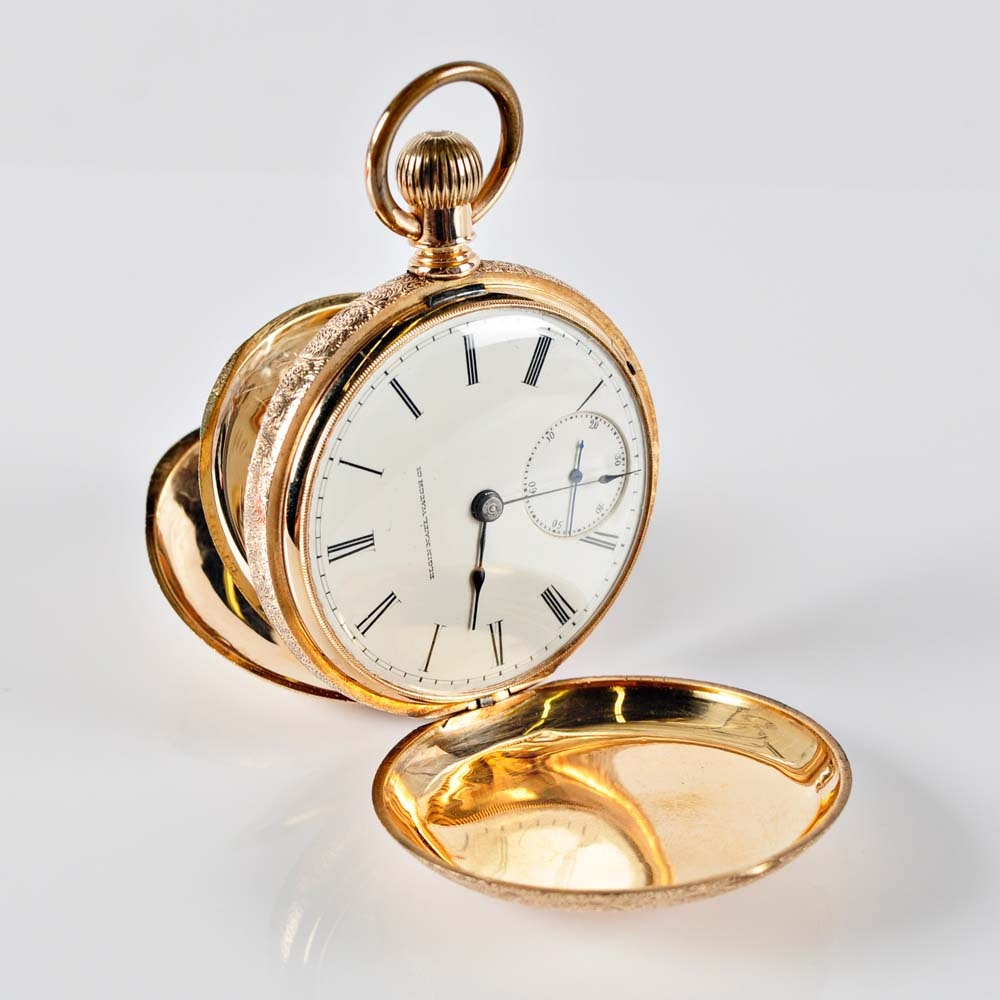 Circa 1884 Elgin 14K Men's Pocket Watch