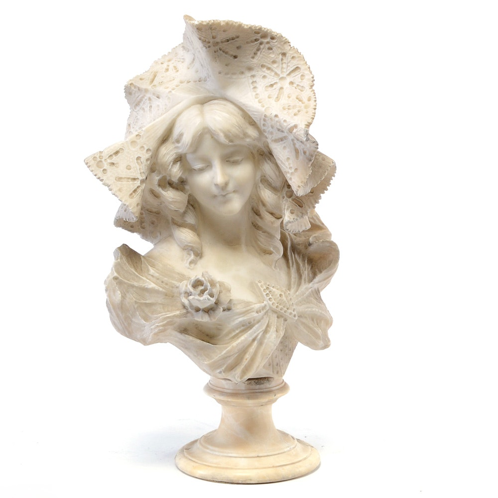 Carved Alabaster Art Nouveau Bust