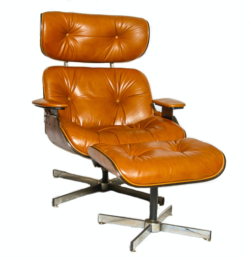 Selig chair and ottoman - Selig Leather And Wooden Chair And Ottoman