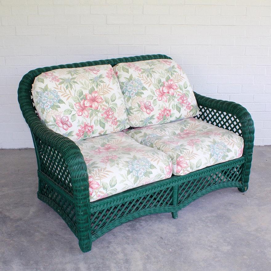 Remarkable Weathermaster Green Wicker Loveseat By Lane Venture Ncnpc Chair Design For Home Ncnpcorg