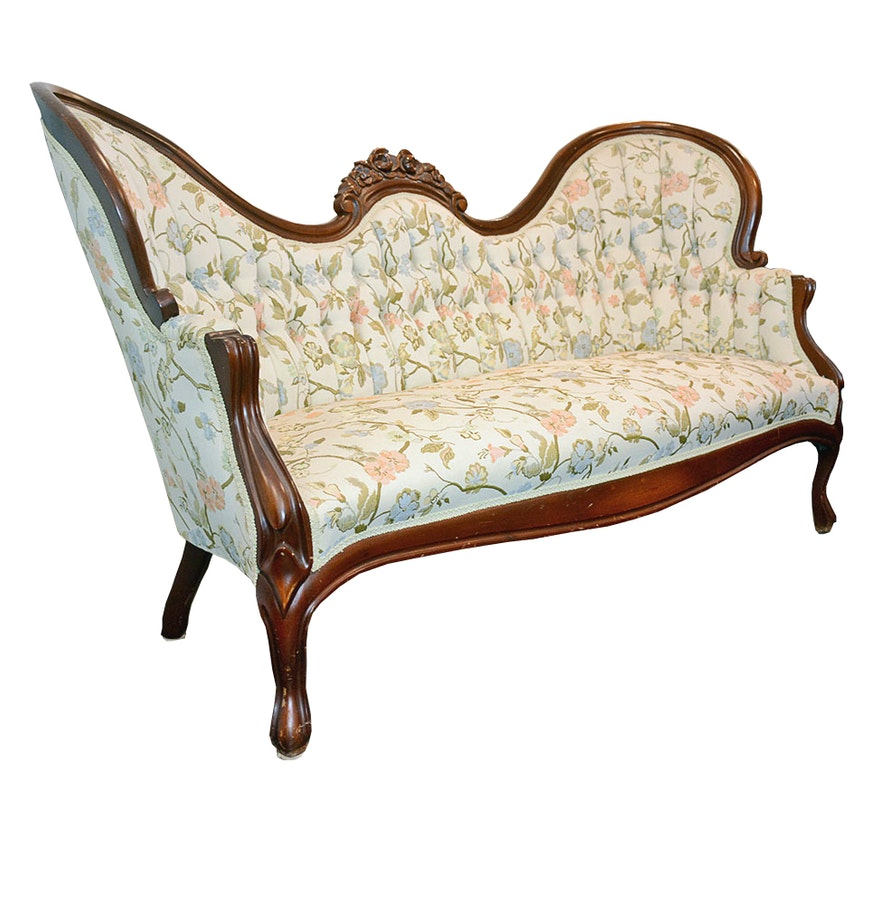 Victorian Style Winged Upholstered Loveseat Ebth