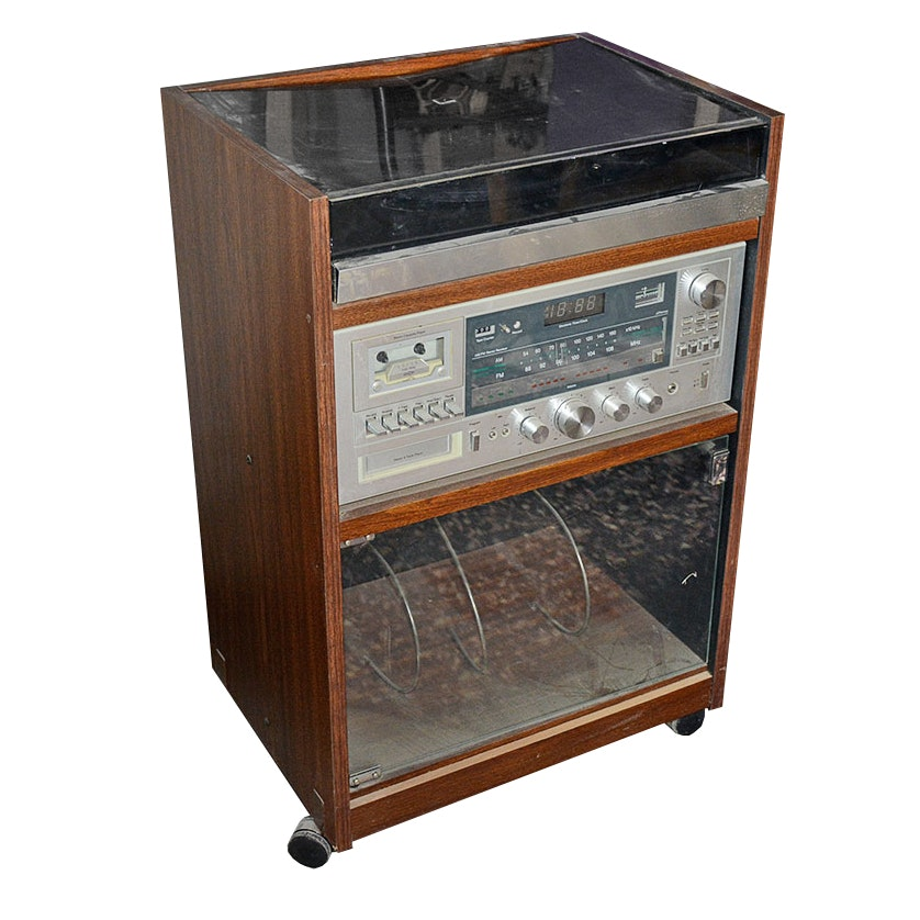 Stereo Cabinet With Turntable, Receiver And 8 Track Player ...