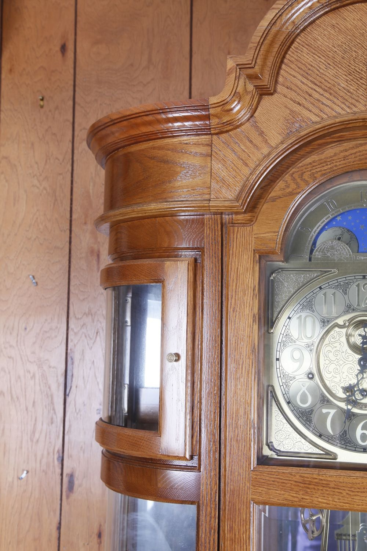 Ridgeway Oak Curio Grandfather Clock Ebth