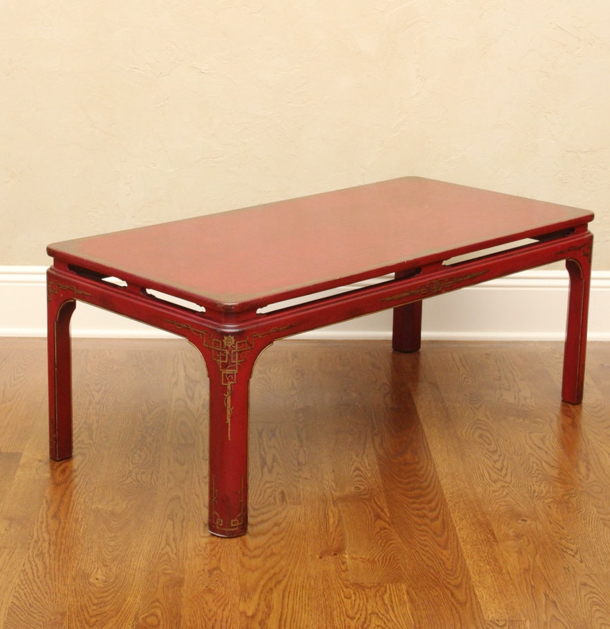 Red Lacquer Coffee Table Ebth