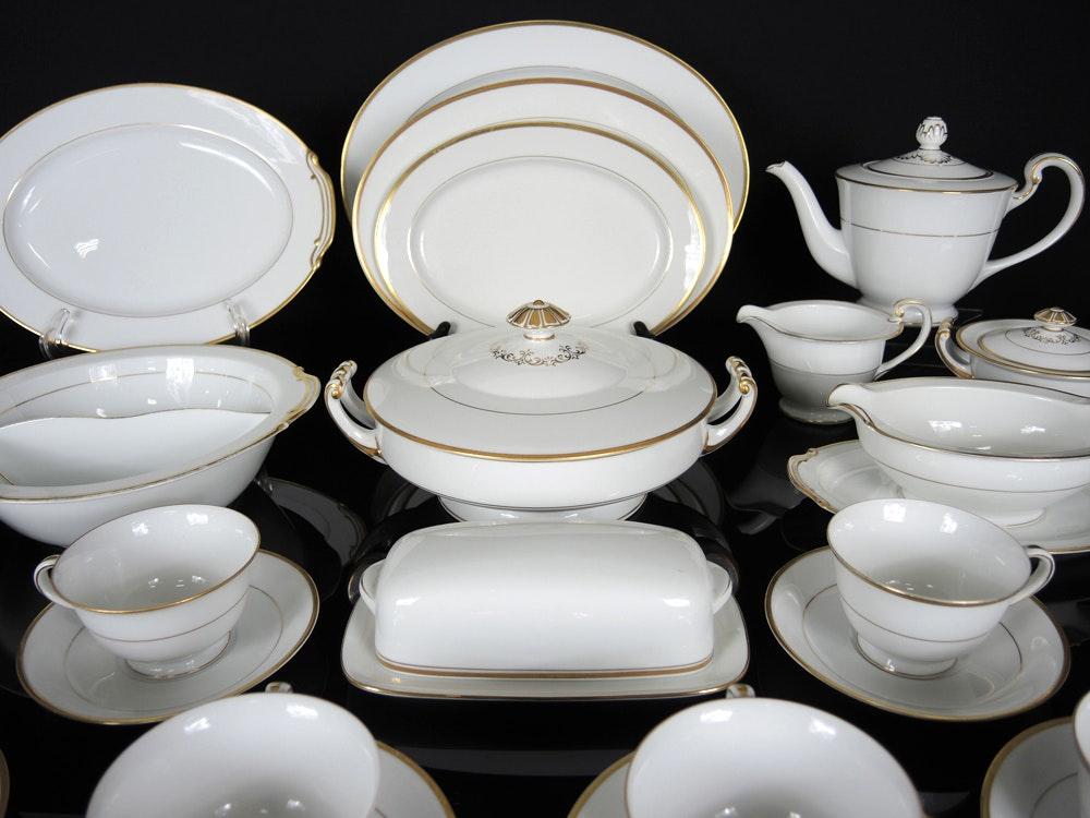 Noritake Goldcroft White China With Gold Trim Ebth