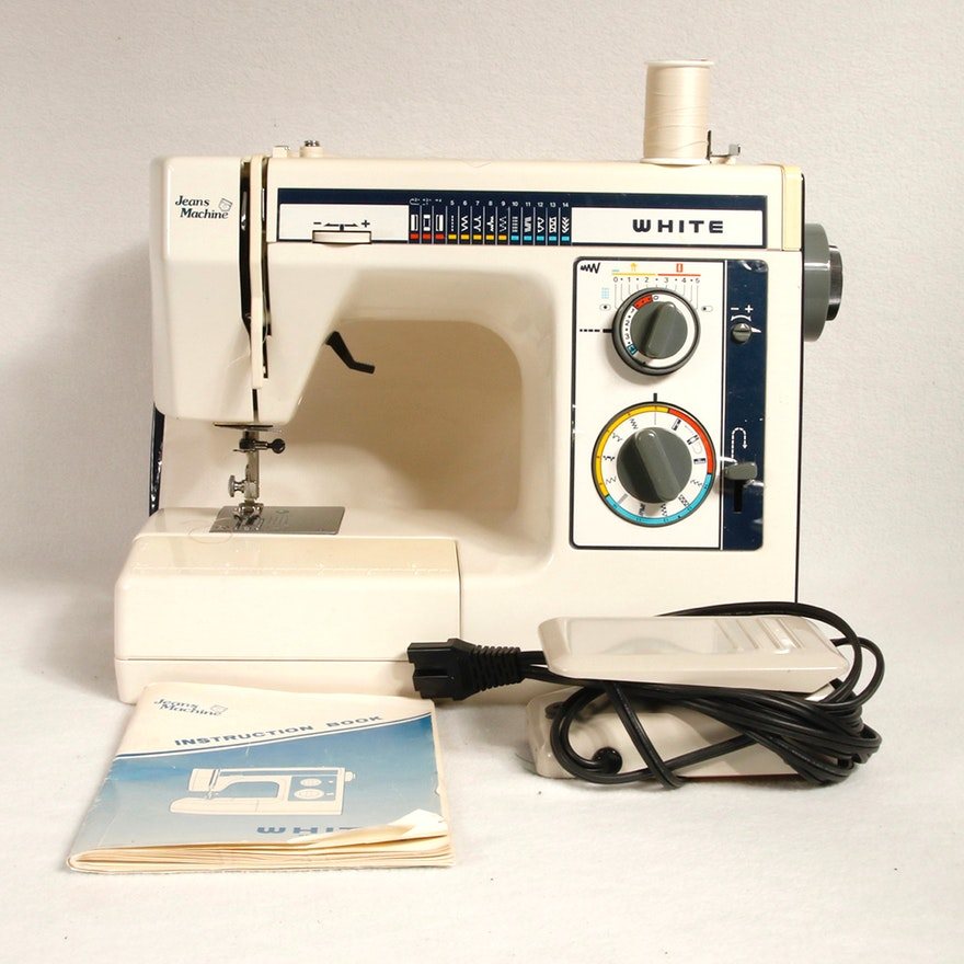 White Jeans Machine Sewing Machine EBTH Enchanting Jeans Machine White Sewing Machine