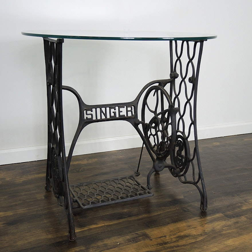 Singer Treadle Sewing Machine Base With Glass Table Top EBTH Beauteous Sewing Machine Treadle Base